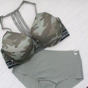NWT PINK Victoria's Secret Camo Set 1 Bra 1 Panty